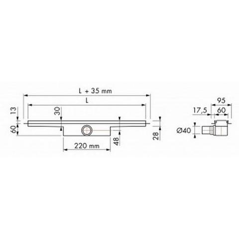 Easydrain Compact 50 douchegoot 70cm - met flens