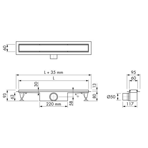 Easydrain Compact 50 douchegoot 90cm - met flens