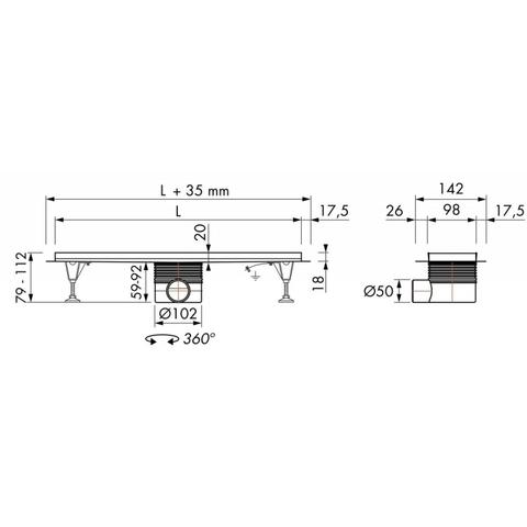 Easydrain Multi inbouwdeel 9 x 70 cm. met flens zonder rooster rvs