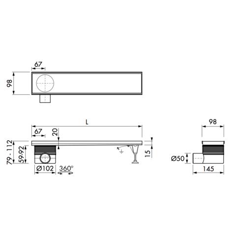 Easydrain Multi inbouwdeel 9 x 70 cm. met zij uitloop rvs