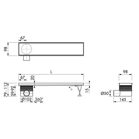 Easydrain Multi inbouwdeel 9 x 80 cm. met zij uitloop rvs