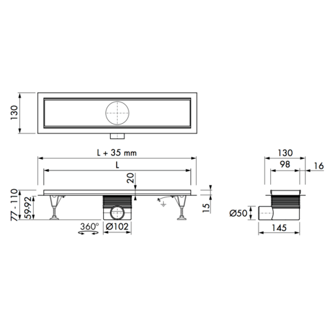 Easydrain Multi inbouwdeel 9 x 90 cm. met flens zonder rooster rvs