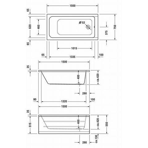 Duravit D-code bad 150x75cm wit