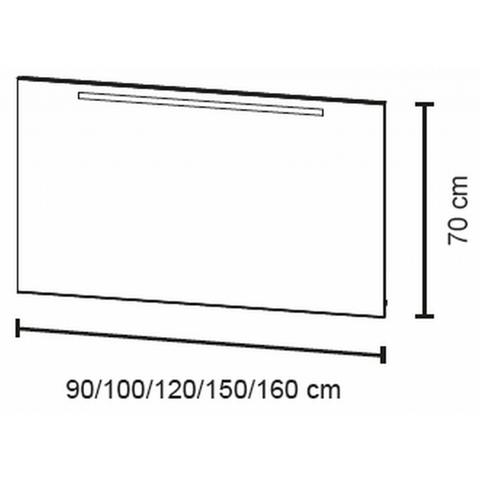 Bruynzeel spiegel 120cm met horizontale TL verlichting