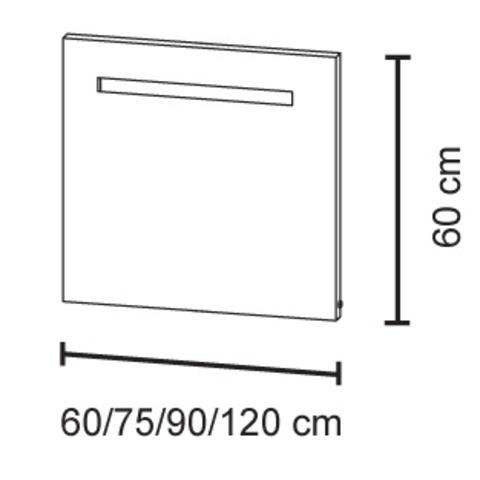 Bruynzeel spiegel 60cm met horizontale TL verlichting