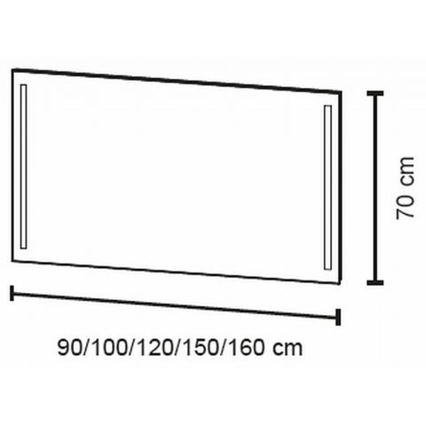 Bruynzeel spiegel 120cm met verticale LED verlichting