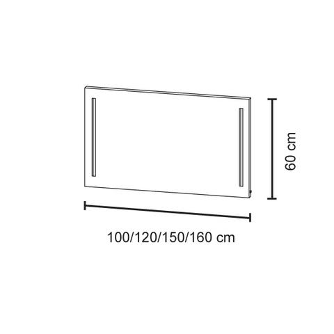 Bruynzeel spiegel 160cm met verticale LED verlichting