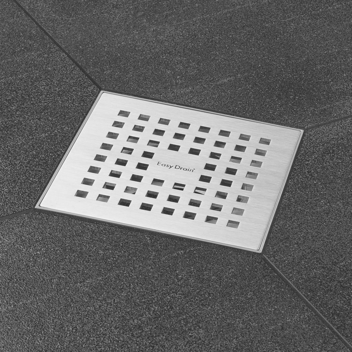 Easydrain Aqua quattro vloerput abs 15 x 15 cm. verticaal rvs geborsteld