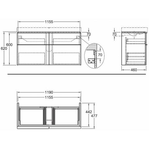Sphinx 345 wastafelonderkast 119 cm - eiken naturel - 4 lades