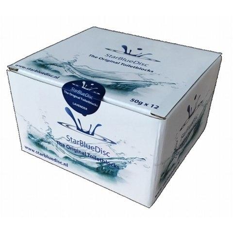 Starbluedisc geurblokjes voor toiletblokhouder halfjaarverpakking (12 stuks) blauw