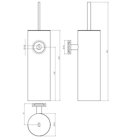 Clou Flat toiletborstelgarnituur wand chroom