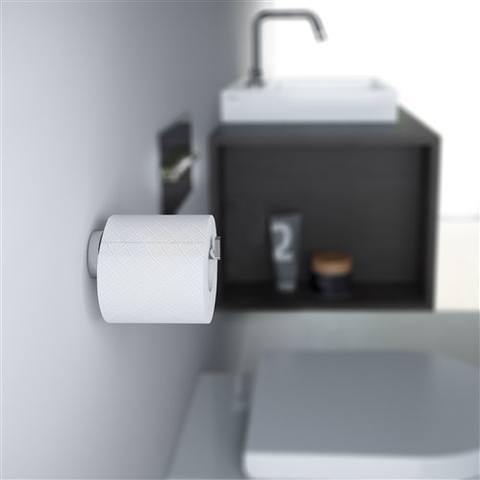 Clou Flat toiletrolhouder zonder klep diepte 12,1 cm chroom
