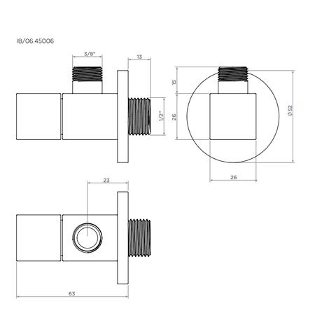Clou InBe design hoekstopkraan vierkant chroom