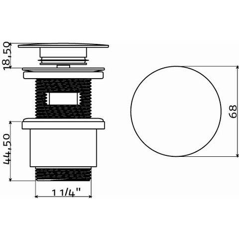 Clou InBe stop/go afvoerplug met overloopgat rond met afdekkap 6,8 cm