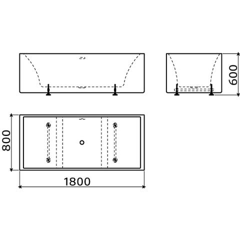 Clou InBe vrijstaand ligbad 180x80cm geïntegreerde overloop wit