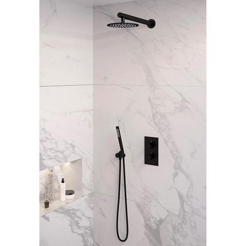 Brauer Black Edition inbouwset met 3-weg thermostaat - hoofddouche 20cm - rechte wandarm 40cm - staafhanddouche - wandaansluiting