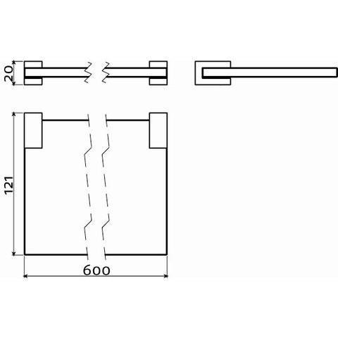Clou Quadria planchet 60cm chroom