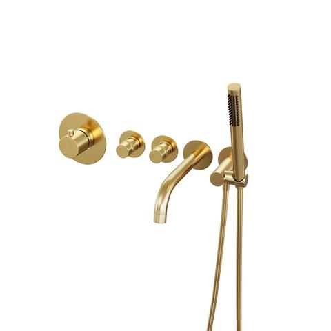Brauer Gold Edition inbouw badthermostaat met uitloop - geborsteld goud PVD - staafhanddouche
