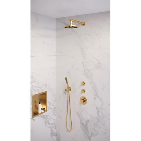 Brauer Gold Edition thermostatische inbouw doucheset - geborsteld goud PVD - hoofddouche 20cm - wandarm - staafhanddouche