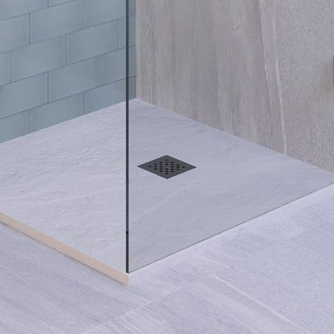 Bewonen Niels douchebak mineraalmarmer - 90x90 cm - mat wit
