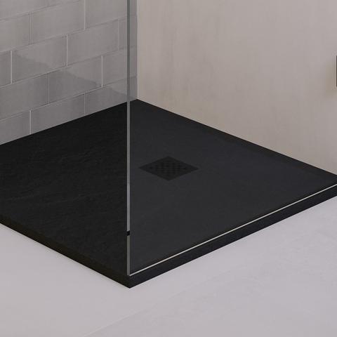 Bewonen Niels douchebak mineraalmarmer - 90x140x2.5cm - mat zwart