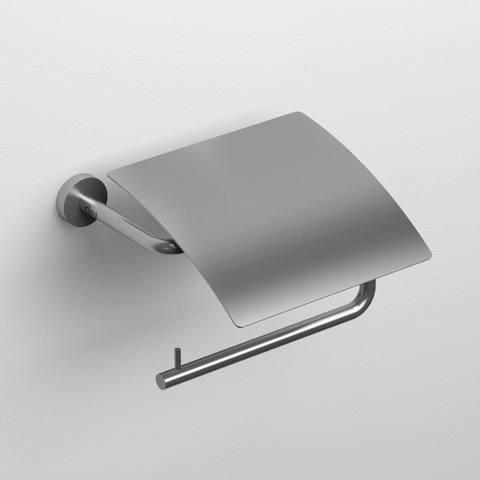 Clou Slim toiletrolhouder met klep RVS geborsteld