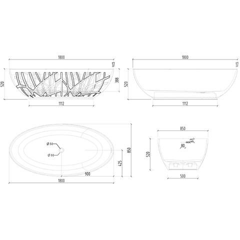 Mondiaz Holm vrijstaand bad 180x85cm - talc / talc