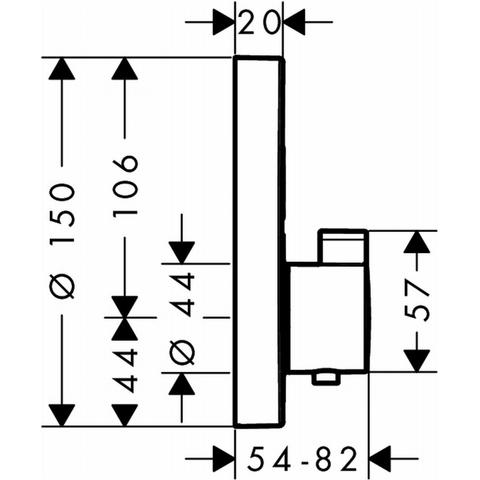 Hansgrohe Showerselect S afdekset thermostaat met 2 stopfuncties chroom