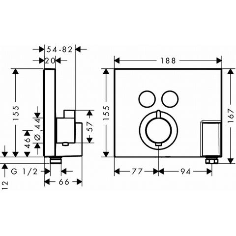 Hansgrohe Showerselect afdekset voor thermostaat met 2 stopfuncties chroom