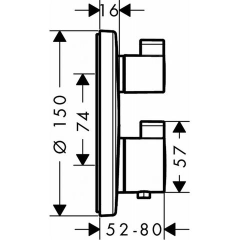 Hansgrohe Ecostat S afdekset voor inbouwthermostaat 1-weg chroom