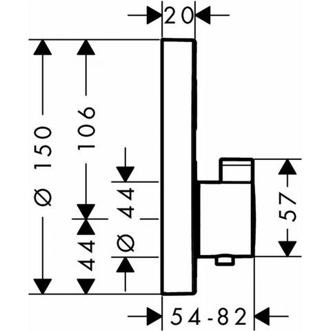 Hansgrohe Showerselect S afdekset thermostaat met 1 stopfunctie chroom