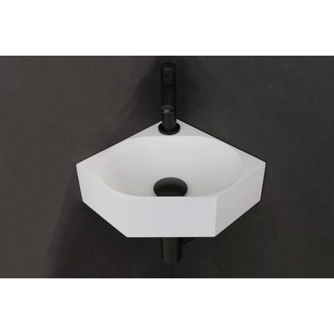 Ink Matrix hoekfontein 27x27cm - met kraangat - polystone mat wit