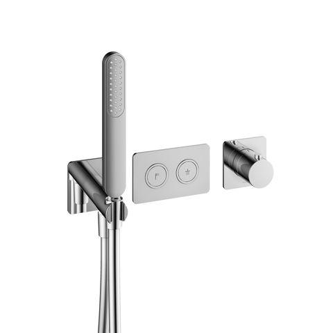 Hotbath Gal PB7071CR inbouw thermostaat met 2 stopkranen en handdouche chroom