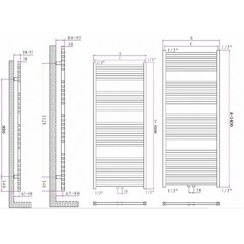 Blinq Altare S handdoekradiator 140 x 60 cm (H X L) wit