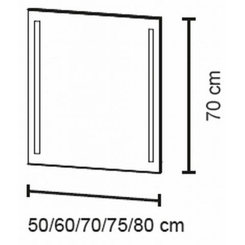 Bruynzeel  spiegel 70x70cm.vert.led verlichting anticondens aluminium