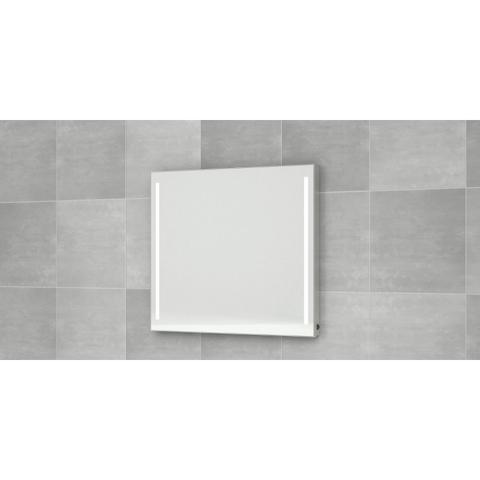 Bruynzeel  spiegel 90x70 bxh vert.led verlichting anticondens aluminium
