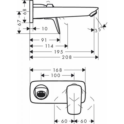 Hansgrohe Logis afdekset voor wastafelkraan 195 mm. chroom