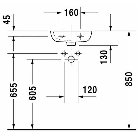 Duravit D-code fontein 36x27 cm - kraangat links
