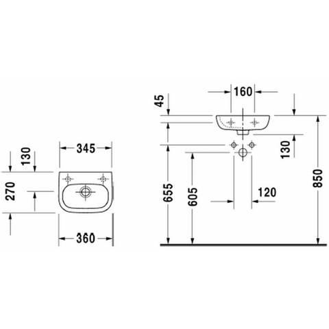 Duravit D-code fontein 36x27 cm - kraangat rechts