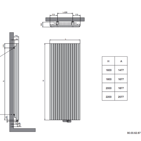 Vasco Alu-Zen designradiator 180 x 45 cm (H X L) zwart m300