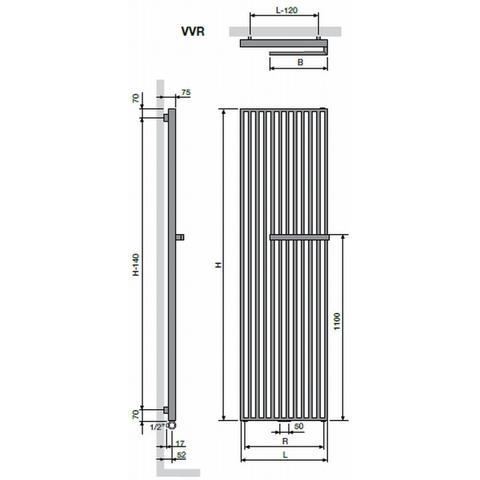 Vasco Arche VVR designradiator 180 x 47 cm (H x L) wit ral 9016
