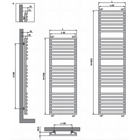 Vasco Bathline BC designradiator 134,5 x 50 cm (H x L) antraciet m301