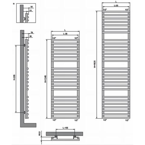 Vasco Bathline BC designradiator 182,5 x 50 cm (H x L) antraciet m301
