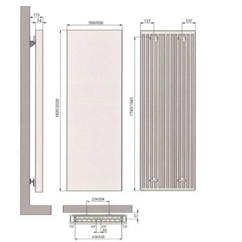 Vasco Vertiline VG designradiator 182 x 50,8 cm (H x L) wit ral 9016