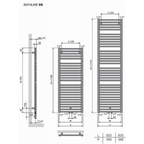 Vasco Bathline BB designradiator 118,6 x 50 cm (H x L) wit ral 9016