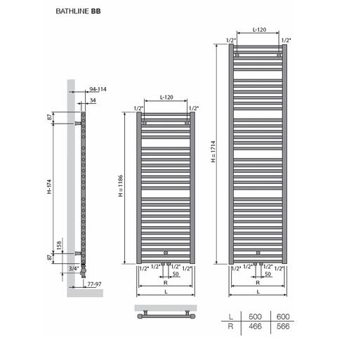 Vasco Bathline BB designradiator 171,4 x 60 cm (H x L) wit ral 9016