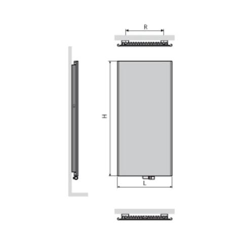 Vasco Niva NS1L1 paneelradiator type 11 - 182 x 74 cm (H x L) zwart m300