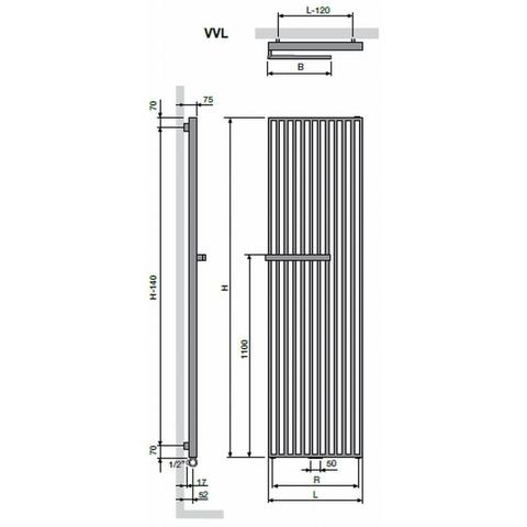 Vasco Arche VVL designradiator 180 x 57 cm (H x L) wit ral 9016