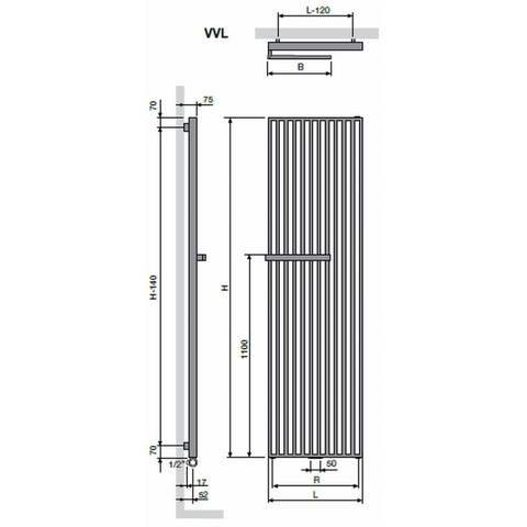 Vasco Arche VVL designradiator 180 x 57 cm (H x L) zwart m300