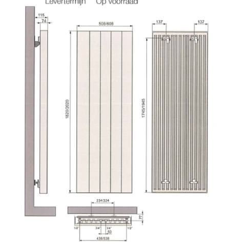 Vasco Vertiline VD designradiator 182 x 50,8 cm (H x L) antraciet m301